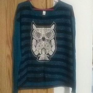 Sparkly striped owl sweater